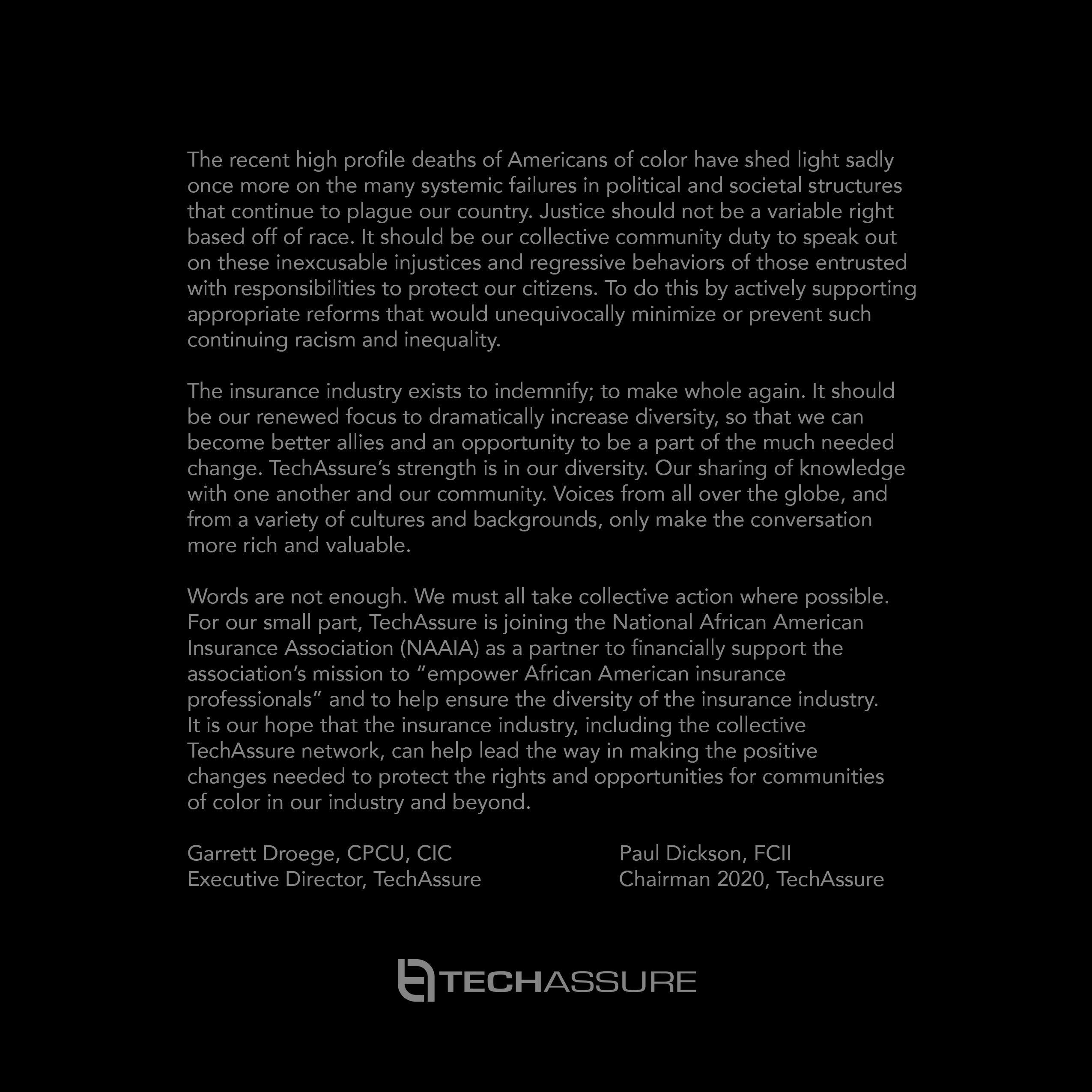 TechAssure Stands for Equality